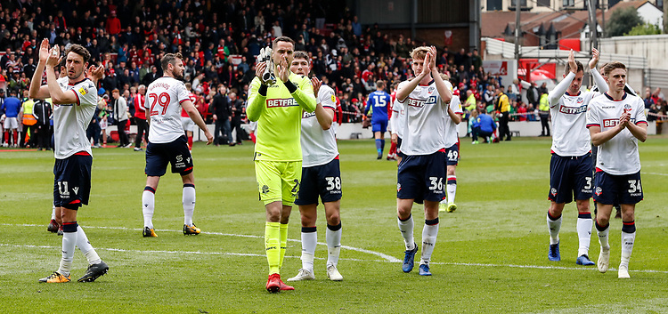 Bolton Wanderers players applaud their side's travelling supporters at the end of the match <br /> <br /> Photographer Andrew Kearns/CameraSport<br /> <br /> The EFL Sky Bet Championship - Nottingham Forest v Bolton Wanderers - Sunday 5th May 2019 - The City Ground - Nottingham<br /> <br /> World Copyright © 2019 CameraSport. All rights reserved. 43 Linden Ave. Countesthorpe. Leicester. England. LE8 5PG - Tel: +44 (0) 116 277 4147 - admin@camerasport.com - www.camerasport.com