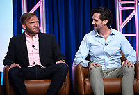 2019 FOX SUMMER TCA: (L-R): BH90210 Executive Producer/Writer Chris Alberghini and Executive Producer/Writer/Showrunner Mike Chessler during the BH90210 panel at the 2019 FOX SUMMER TCA at the Beverly Hilton Hotel, Wednesday, Aug. 7 in Beverly Hills, CA. CR: Frank Micelotta/FOX/PictureGroup