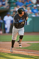 Axel Andueza (14) of the Missoula Osprey hustles to first base against the Ogden Raptors at Lindquist Field on August 12, 2019 in Ogden, Utah. The Raptors defeated the Osprey 4-3. (Stephen Smith/Four Seam Images)