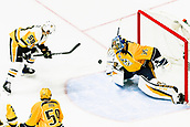 June 5th 2017, Nashiville, TN, USA;  Nashville Predators goalie Pekka Rinne (35) makes save on shot by Pittsburgh Penguins center Jake Guentzel (59) during game 4 of the 2017 NHL Stanley Cup Finals between the Pittsburgh Penguins and Nashville Predators