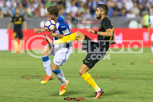 Atletico de Madrid's Yannick Ferreira Carrasco and Club Deportivo Leganes's Ruben Perez during the match of La Liga between Club Deportivo Leganes and Atletico de Madrid at Butarque Estadium in Leganes. August 27, 2016. (ALTERPHOTOS/Rodrigo Jimenez) /NORTEPHOTO