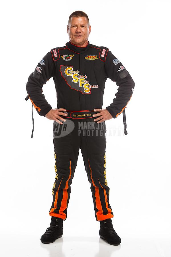 Feb 10, 2016; Pomona, CA, USA; NHRA funny car driver Jim Campbell poses for a portrait during media day at Auto Club Raceway at Pomona. Mandatory Credit: Mark J. Rebilas-USA TODAY Sports
