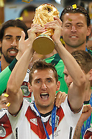 Miroslav Klose of Germany lifts the World Cup trophy after winning the 2014 final