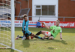 Dean Hammond of Sheffield Utd knocks the ball wide of the goal as Chris Maxwell of Fleetwood Town makes himself big - English League One - Fleetwood Town vs Sheffield Utd - Highbury Stadium - Fleetwood - England - 5rd March 2016 - Picture Simon Bellis/Sportimage