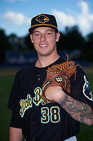 West Virginia Black Bears relief pitcher Adam Oller (38) poses for a photo before a game against the Batavia Muckdogs on June 26, 2017 at Dwyer Stadium in Batavia, New York.  Batavia defeated West Virginia 1-0 in ten innings.  (Mike Janes/Four Seam Images)