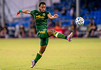 13th July 2020, Orlando, Florida, USA;  Portland Timbers forward Jeremy Ebobisse (17) shoots during the MLS Is Back Tournament between the LA Galaxy versus Portland Timbers on July 13, 2020 at the ESPN Wide World of Sports, Orlando FL.