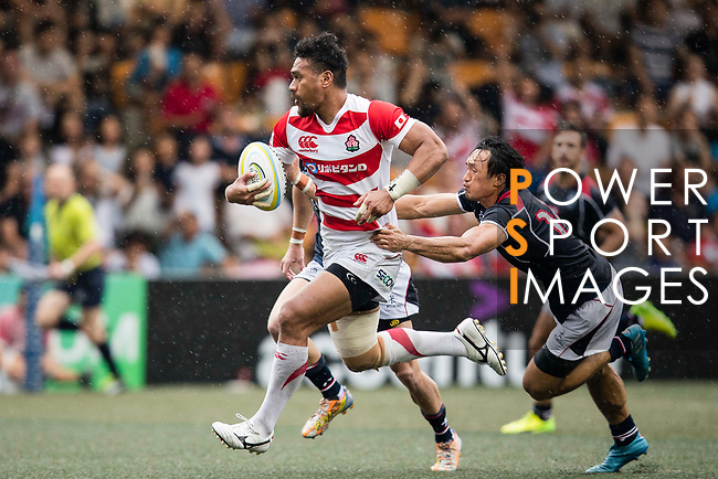Amanaki Lotoahea of Japan (C) in action during the Asia Rugby Championship 2017 match between Hong Kong and Japan on May 13, 2017 in Hong Kong, Hong Kong. (Photo by Cris Wong / Power Sport Images)