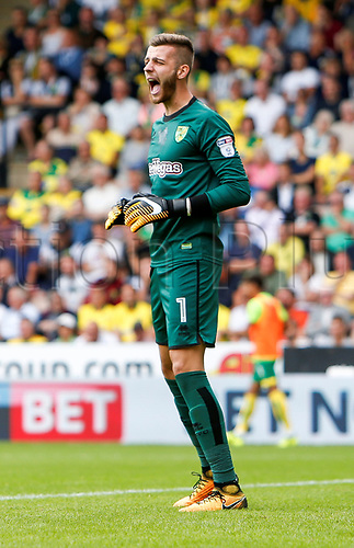 August 13th 2017, Carrow Road, Norwich, Norfolk, England;  EFL Championship football, Norwich versus Sunderland FC; Norwich City goalkeeper Angus Gunn