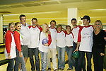 "9 actors join Guiding Light's Liz Keifer and Jerry verDorn ""Blake and Ross Marler"" (and OLTL's Clint Buchanan) at the ""Bloss"" Bowling Event during the Guiding Light weekend on October 15, 2005 at the Port Authority, NY  Gatschet, Tognoni, Clark, Newman, Hunt, verDorn, Zimmer, Keifer, Driscoll, Pelphrey and Chamberlin. Michelle Ray Smith also came. (Photo by Sue Coflin)"