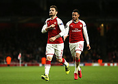 7th December 2017, Emirates Stadium, London, England; UEFA Europa League football, Arsenal versus BATE Borisov;  Mathieu Debuchy of Arsenal celebrates after scoring his sides 1st goal in the 1st half to make it 1-0 with Francis Coquelin of Arsenal