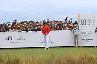 Tiger Woods (USA) on the 10th tee during the First Round - Four Ball of the Presidents Cup 2019, Royal Melbourne Golf Club, Melbourne, Victoria, Australia. 12/12/2019.<br /> Picture Thos Caffrey / Golffile.ie<br /> <br /> All photo usage must carry mandatory copyright credit (© Golffile | Thos Caffrey)