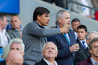 Wales manager Chris Coleman and Wales coach Kit Symons ahead of the Sky Bet Championship match between Cardiff City and Sheffield United in which Ched Evans is a Sheffield United substitute at Cardiff City Stadium, Cardiff, Wales on 15 August 2017. Photo by Mark  Hawkins / PRiME Media Images.