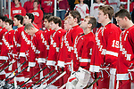 The Wisconsin Badgers men's hockey team lines up for the National Anthem prior to an NCAA hockey game against the Alabama Huntsville Chargers at the Kohl Center in Madison, Wisconsin on October 15, 2010. The Badgers won 7-0. (Photo by David Stluka)