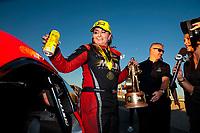 Nov 3, 2019; Las Vegas, NV, USA; NHRA pro stock driver Erica Enders celebrates after winning the Dodge Nationals at The Strip at Las Vegas Motor Speedway. Mandatory Credit: Mark J. Rebilas-USA TODAY Sports