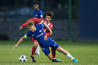Luke McCormick of Chelsea battles for the ball during the UEFA Youth League group match between Chelsea and Atletico Madrid Juvenil A at the Chelsea Training Ground, Cobham, England on 5 December 2017. Photo by Andy Rowland.