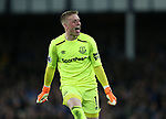Jordan Pickford of Everton celebrates their first goal towards the Newcastle fans during the premier league match at Goodison Park Stadium, Liverpool. Picture date 23rd April 2018. Picture credit should read: Simon Bellis/Sportimage