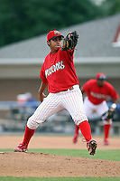 August 3rd 2008:  Pitcher Arquimedes Nieto of the Batavia Muckdogs, Class-A affiliate of the St. Louis Cardinals, during a game at Dwyer Stadium in Batavia, NY.  Photo by:  Mike Janes/Four Seam Images