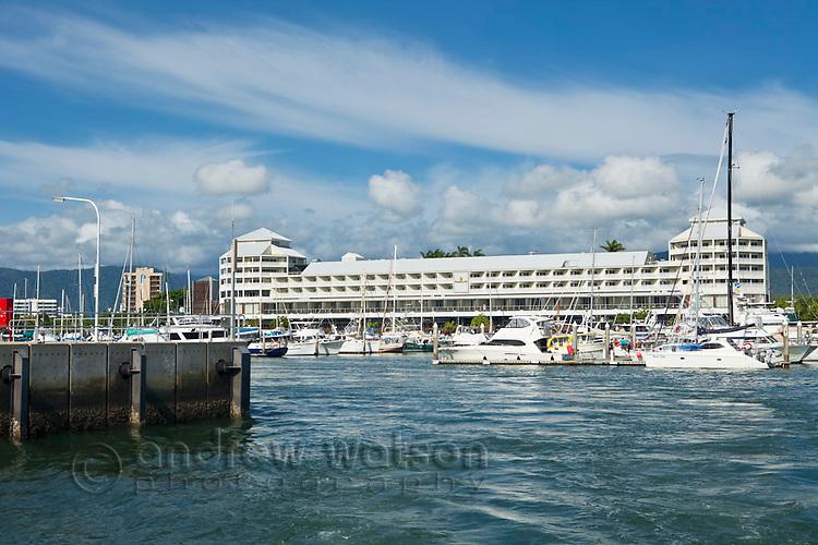 Marlin Marina with Shangri La Hotel in background.  Cairns, Queensland, Australia