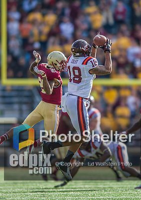2 November 2013: Virginia Tech Hokies wide receiver D.J. Coles (18) is unable to hold onto pass in the fourth quarter against the Boston College Eagles at Alumni Stadium in Chestnut Hill, MA. The Eagles defeated the Hokies 34-27. Mandatory Credit: Ed Wolfstein-USA TODAY Sports *** RAW (NEF) Image File Available ***