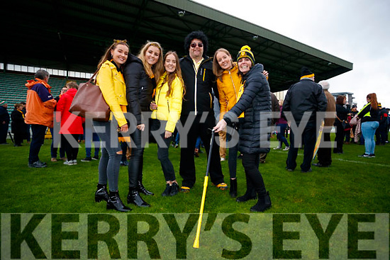 Rebecca O'Shea, Zoe O'Sullivan, Amy O'Shea, Brian Clarke, Leah O'Shea and Debra O'Shea, at the Garvey's Senior Football Championship, Dr Crokes v South Kerry, at the Austin Stack Park, Tralee on Sunday last.