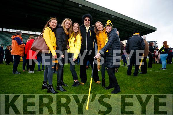Rebecca O'Shea, Zoe O'Sullivan, Amy O'Shea, Brian Clarke, Leah O'Shea and Debra O'Shea, at the Garvey's Senior Football Championship, Dr Crokes v South Kerry, at the Austin Stack Park, Tralee on Sunday last.