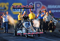 Feb. 17 2012; Chandler, AZ, USA; NHRA top fuel dragster driver Steve Torrence during qualifying for the Arizona Nationals at Firebird International Raceway. Mandatory Credit: Mark J. Rebilas-