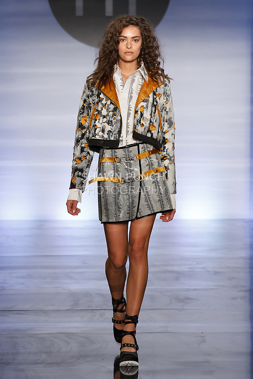 Model walks runway in an outfit by Marlena Laboz, during the Future of Fashion 2017 runway show at the Fashion Institute of Technology on May 8, 2017.