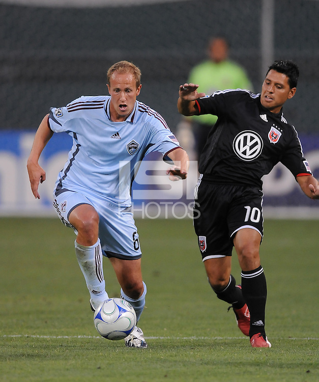Colorado Rapids midfielder Greg Dalby (6) controls the ball against DC United midfielder (Christina Gomez (10)  DC United defeated The Colorado Rapids 3-1, at RFK Stadium in Washington DC, Saturday July 18,2009.