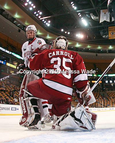 Tyler McNeely (NU - 94), Ryan Carroll (Harvard - 35) - The Northeastern University Huskies defeated the Harvard University Crimson 4-1 (EN) on Monday, February 8, 2010, at the TD Garden in Boston, Massachusetts, in the 2010 Beanpot consolation game.