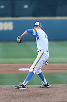 Tucker Forbes (48) of the UCLA Bruins pitches during a game against the Oregon State Beavers at Jackie Robinson Stadium on April 4, 2015 in Los Angeles, California. UCLA defeated Oregon State, 10-5. (Larry Goren/Four Seam Images)