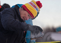 Waxing Skis during the 2018 U.S. National Cross Country Ski Championships at Kincaid Park in Anchorage.