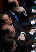 Il leader del Popolo della Liberta' Silvio Berlusconi durante la cerimonia del giuramento del rieletto Presidente della Repubblica davanti alle Camere riunite in seduta comune in occasione del rinnovo del suo mandato, a Montecitorio, Roma, 22 aprile 2013..Italian People of Freedom party's leader Silvio Berlusconi listens the Italian President's speech at the Lower Chamber in Rome, 22 April 2013..UPDATE IMAGES PRESS/Isabella Bonotto
