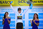 Wout Van Aert (BEL) Team Jumbo-Visma retains the young riders White Jersey at the end of Stage 4 of the 2019 Tour de France running 213.5km from Reims to Nancy, France. 9th July 2019.<br /> Picture: ASO/Pauline Ballet | Cyclefile<br /> All photos usage must carry mandatory copyright credit (© Cyclefile | ASO/Pauline Ballet)