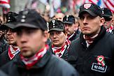Die Ungarische Nationale Garde marschiert auf einer Kundgebung der rechtsextreme Jobbik-Partei am 15. März 2014 in Budapest, am Gedenktag der Revolution von 1848 in Ungarn / Jobbik celebrates the anniversary of the Hungarian revolution on March 15. Members of the Hungarian National Guard.