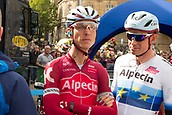 6th September 2017, Mansfield, England; OVO Energy Tour of Britain Cycling; Stage 4, Mansfield to Newark-On-Trent;  Team Katusha-Alpecin riders Tony Martinand Alex Kristoff wait for registration