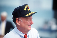Edward I. Koch, mayor of New York City, sports a sailor's cap at the commissioning ceremony for the guided missile cruiser USS LAKE CHAMPLAIN (CG 57). Location: NEW YORK, NEW YORK (NY) UNITED STATES OF AMERICA (USA),  12 August 1988<br /> <br /> Camera Operator: PH3 PATRICK J. CASHIN