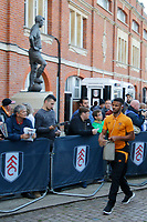Fraizer Campbell of Hull City arrives prior to the Sky Bet Championship match between Fulham and Hull City at Craven Cottage, London, England on 13 September 2017. Photo by Carlton Myrie.