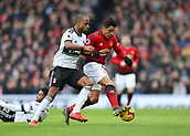 9th February 2019, Craven Cottage, London, England; EPL Premier League football, Fulham versus Manchester United; Denis Odoi of Fulham challenges Alexis Sanchez of Manchester United