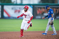 Orem Owlz third baseman Kevin Maitan (9) rounds the bases in front of Jeremy Arocho (8) after hitting a home run during a Pioneer League game against the Ogden Raptors at Home of the OWLZ on August 24, 2018 in Orem, Utah. The Ogden Raptors defeated the Orem Owlz by a score of 13-5. (Zachary Lucy/Four Seam Images)