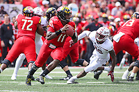 College Park, MD - September 15, 2018:  Maryland Terrapins quarterback Kasim Hill (11) scrambles during the game between Temple and Maryland at  Capital One Field at Maryland Stadium in College Park, MD.  (Photo by Elliott Brown/Media Images International)