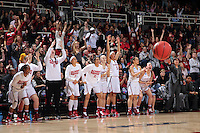 STANFORD, CA - March 21, 2016: Stanford Cardinal defeats the South Dakota State Jackrabbits 66-65 in a second round NCAA tournament game at Maples Pavilion. Briana Roberson makes a three point basket with 1:13 left in the game.