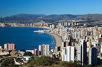 Spain, Costa Blanca, Benidorm: Playa de Levante and Poniente | Spanien, Costa Blanca, Benidorm: Touristen-Hochburg mit den Straenden Playa de Levante und Poniente