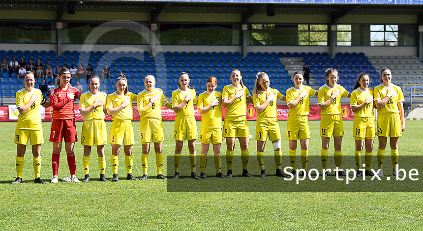 20190422 - Denderleeuw , BELGIUM : Yellow Flames team pictured with Mirthe Claeys (1) , Gaelle Nierynck (2) , Heike Maelfait (19) , Zoe Van de Cloot (13) , Lisa Vanhentenrijk (5) , Fleur Pauwels (3) , Jill Janssens (7) , Tess Lameir (10) , Hannah Eurlings (9) , Janne Huysmans (18) , Estee Cattoor (11) , Auke Swevers (24) and Lauren Meyers (8)  during the Under 16 final of Belgian cup 2019 , a soccer women game between AA Gent Ladies B and The Yellow Flames 1.0  , in the  Van Roystadion in Denderleeuw , Monday 22 th April 2019 . PHOTO SPORTPIX.BE | DAVID CATRY