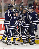 Trevor van Riemsdyk (UNH - 6), Mike Borisenok (UNH - 14), Brett Kostolansky (UNH - 15), Scott Pavelski (UNH - 11), Justin Agosta (UNH - 12) - The Boston College Eagles defeated the visiting University of New Hampshire Wildcats 4-3 on Friday, January 27, 2012, in the first game of a back-to-back home and home at Kelley Rink/Conte Forum in Chestnut Hill, Massachusetts.