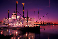 riverboat, casino, sunset, Natchez, Mississippi River, MS, Mississippi, Lady Luck Natchez Riverboat Casino on the Mississippi River at sunset in Natchez.