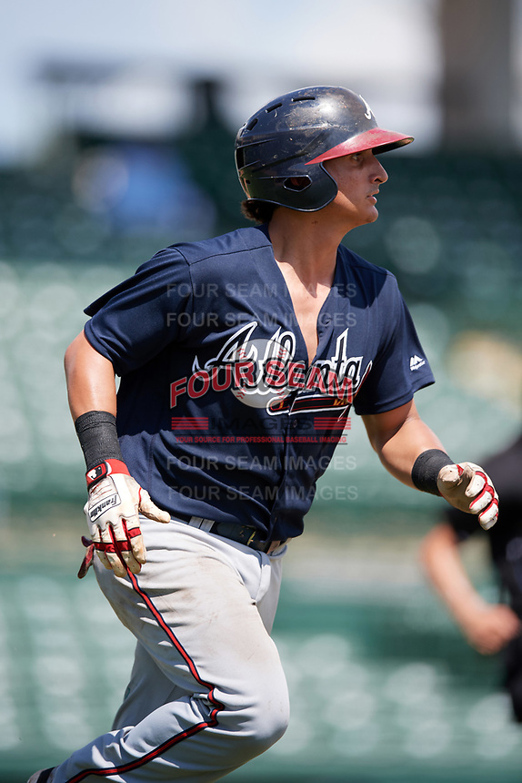 Atlanta Braves catcher Lucas Herbert (2) runs to first base during an Instructional League game against the Baltimore Orioles on September 25, 2017 at Ed Smith Stadium in Sarasota, Florida.  (Mike Janes/Four Seam Images)