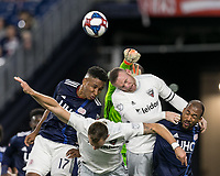 Foxborough, MA - May 25, 2019: Juan Agudelo (#17), Frederic Brillant (#13), Bill Hamid (#24), Wayne Rooney (#9), Teal Bunbury (#10) First half action. In a Major League Soccer (MLS) match, New England Revolution (blue/white) vs D.C. United (white), at Gillette Stadium on May 25, 2019 in Foxborough, MA. (Photo by Andrew Katsampes/ISI Photos).