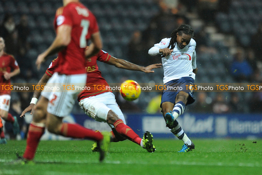 Daniel Johnson of Preston North End has a shot at goal during Preston North End vs Nottingham Forest, Sky Bet Championship Football at Deepdale, Preston, England on 03/11/2015