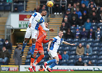 Blackburn Rovers' Ryan Nyambe leaps highest to head the ball<br /> <br /> Photographer Rachel Holborn/CameraSport<br /> <br /> The EFL Sky Bet League One - Blackburn Rovers v Shrewsbury Town - Saturday 13th January 2018 - Ewood Park - Blackburn<br /> <br /> World Copyright &copy; 2018 CameraSport. All rights reserved. 43 Linden Ave. Countesthorpe. Leicester. England. LE8 5PG - Tel: +44 (0) 116 277 4147 - admin@camerasport.com - www.camerasport.com