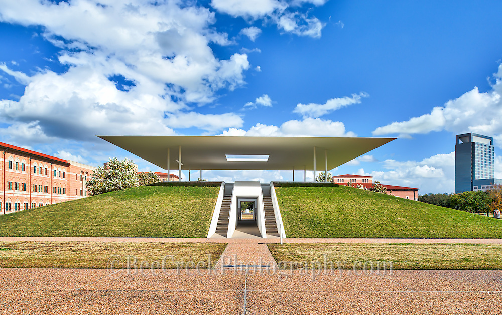 We took this photo of the Centinnel Pavillion in Houston at Rice University. This art feature was created by James Turrel and in the evening you can sit on the inside and watch the colors light up the underside of the Pavillion cover which they call the James Turrell Skyspace however no camera of any kind are permitted so we can't show a night photo.